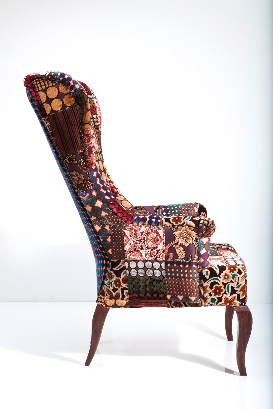 ohrensessel patchwork brown velvet r i c o interior. Black Bedroom Furniture Sets. Home Design Ideas
